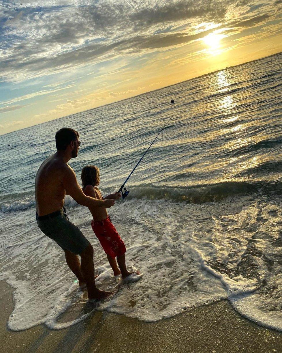 Marek Ztracený se synem na dovolené