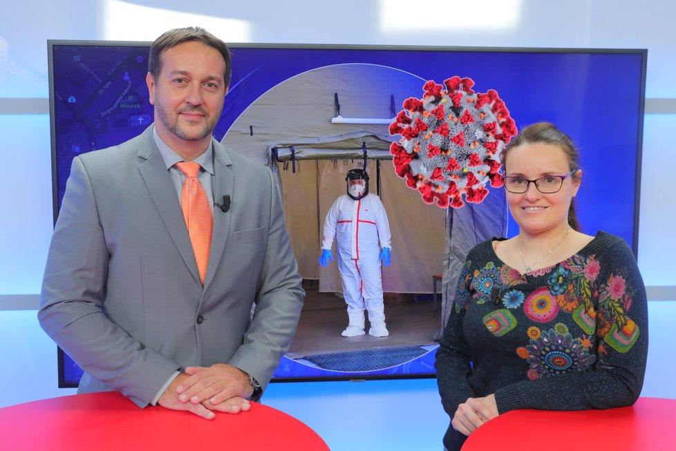 Epidemiolog Rastislav Maďar byl hostem pořadu Epicentrum vysílaného dne 19. 3. 2020. Vpravo moderátorka Andrea Ulagová.