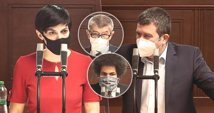 Sněmovna o koronaviru: Markéta Pekarová Adamová (TOP 09), Andrej Babiš (ANO), Dominik Feri (TOP 09) a Jan Hamáček (ČSSD)