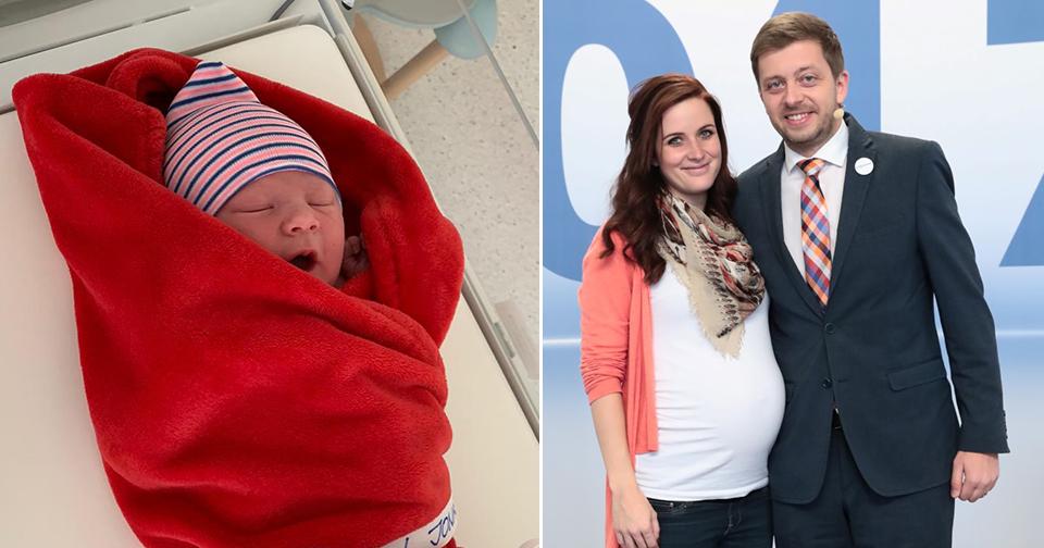 Manželka šéfa STAN Víta Rakušana Marie porodila syna Jonáše. (12. 4. 2020)