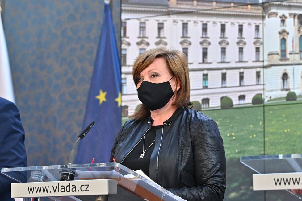 Alena Schillerová (za ANO) po jednání vlády (27.4.2020)