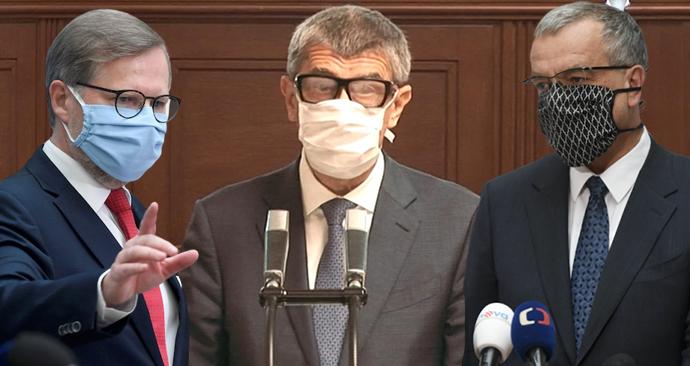 Petr Fiala (ODS), Andrej Babiš (ANO) a Miroslav Kalousek (TOP 09) ve Sněmovně (28. 4. 2020)