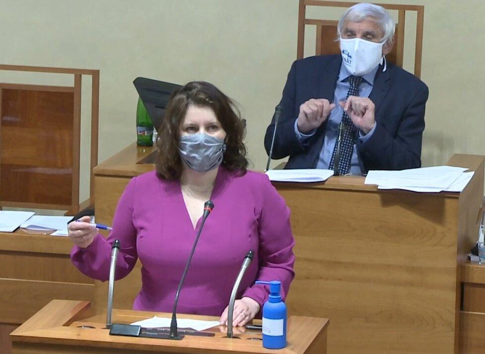 Senát o koronaviru: Ministryně Jana Maláčová (ČSSD) přišla hájit navýšení ošetřovného (29. 4. 2020)