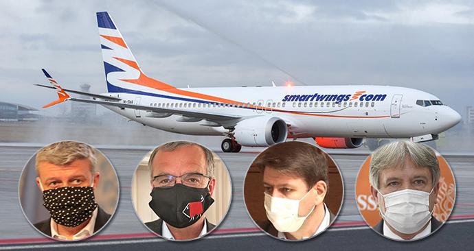 Vstoupí stát do Smartwings? Ministr Karel Havlíček (za ANO, vlevo) myšlenku podporuje, proti jsou Miroslav Kalousek (TOP 09) i Jan Skopeček (ODS), otázky má Roman Onderka (ČSSD)