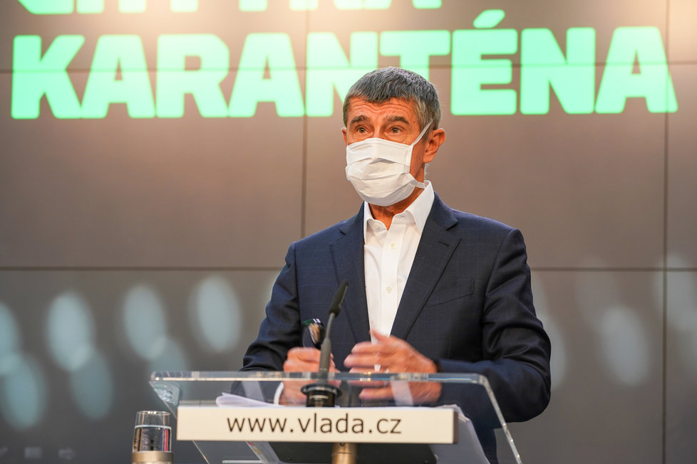 Tisková konference k projektu Chytrá karanténa: Premiér a a šéf ANO Andrej Babiš (7. května 2020)