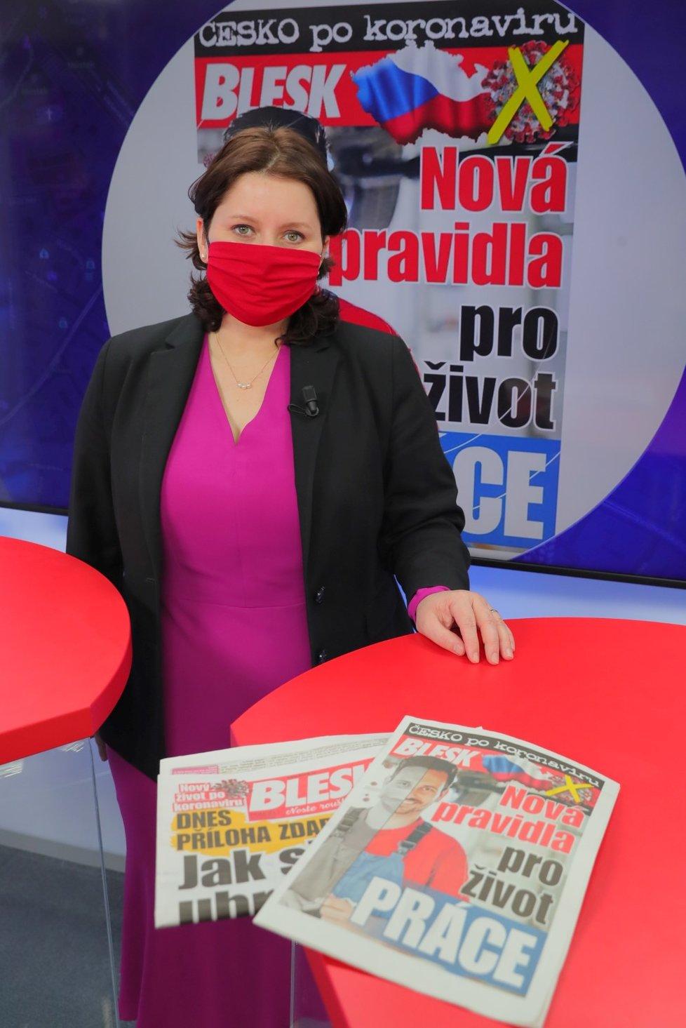 Ministryně práce a sociálních věcí Jana Maláčová (ČSSD) v pořadu Epicentrum 18. 5. 2020