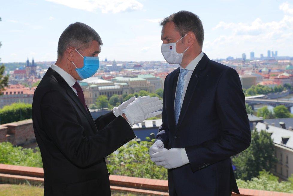 Návštěva slovenského premiéra v Česku: Andrej Babiš (ANO) a Igor Matovič (3. 6. 2020)