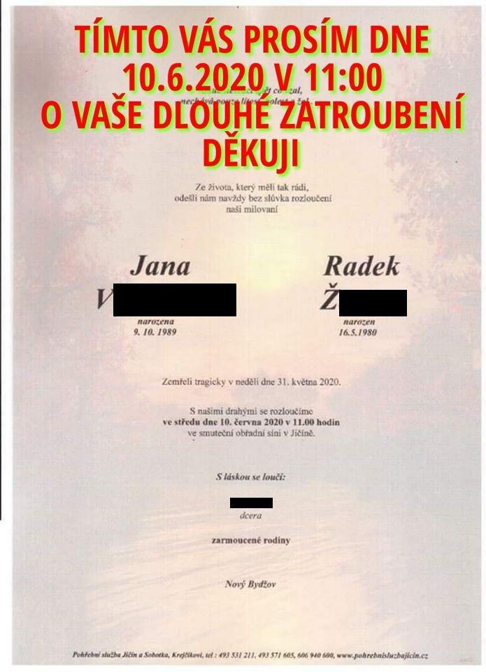 Parte rodičů malé holčičky, které při autonehodě u Černožic zabil riskující řidič BMW.