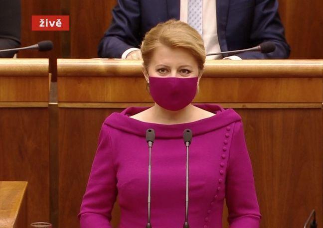 Slovenská prezidenta Zuzana Čaputová v projevu k poslancům (5. 6. 2020)