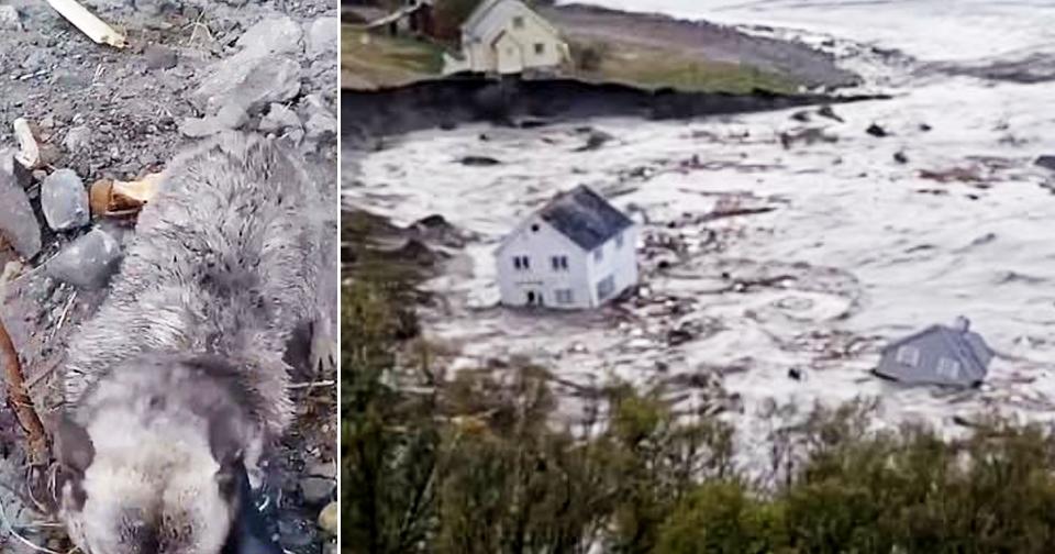 Obrovský kus pobřeží sklouzl do moře v severní části Norska.