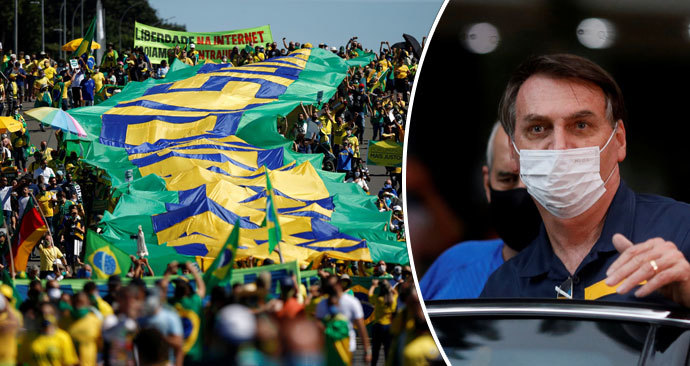 Protesty v Brazílii proti prezidentovi Bolsonarovi (8. 6. 2020)
