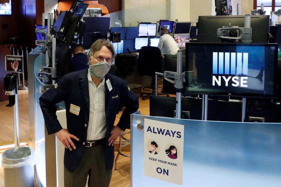 Newyorská burza v době pandemie.