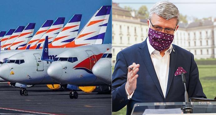 Vláda chce společnosti Smartwings poskytnout záruku ve výši 900 milionů korun, Schillerová pomoc nepodporuje