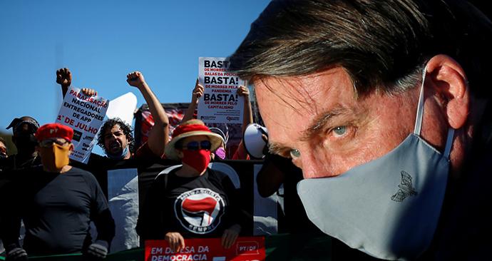 Prezident Bolsonaro a protesty v Brazílii (24. 6. 2020)