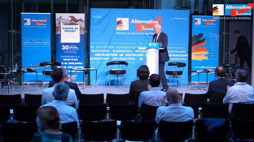 Exprezident Václav Klaus hovořil v Berlíně na akci opoziční Alternativy pro Německo (AFD). Nové předsednictví Německa v EU podle něj není dobrou zprávou. (30.6.2020)