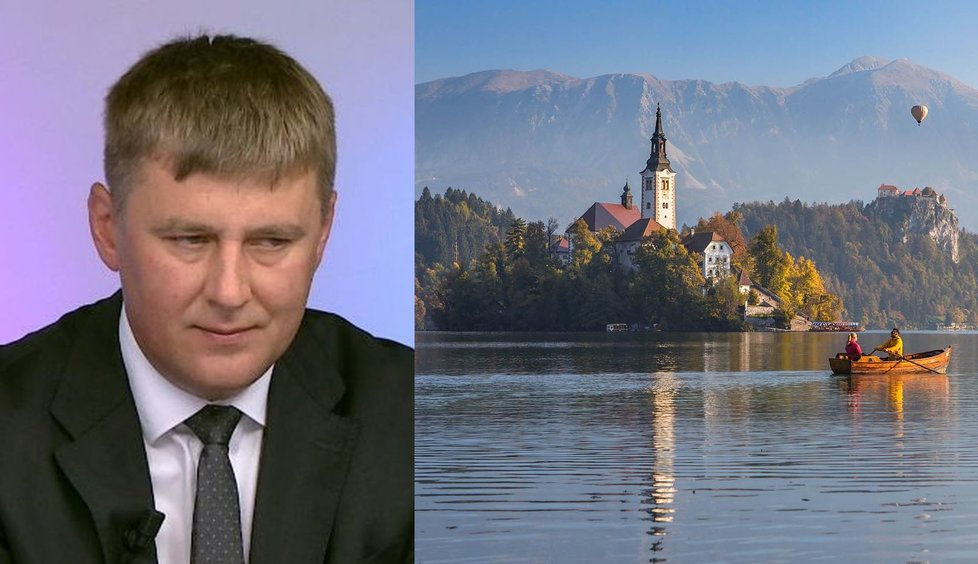 Ministr zahraničí Tomáš Petříček (ČSSD) a jezero Bled ve Slovinsku