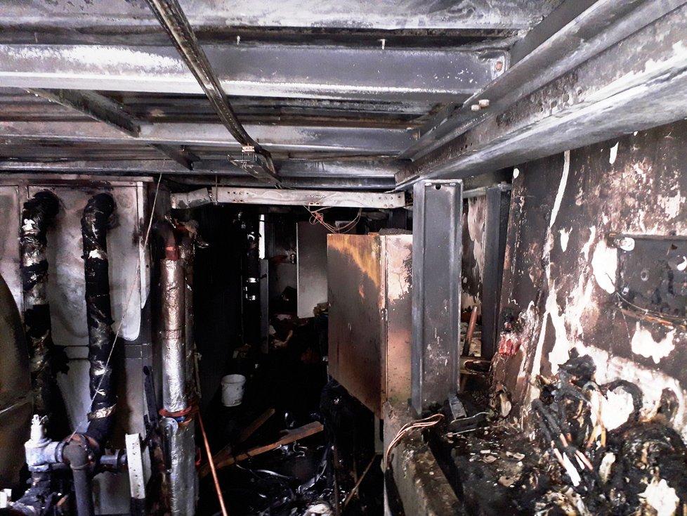 Technická místnost Musea Kampa, kde propukl požár.