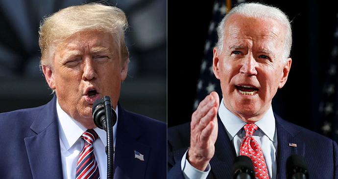 Americký prezident Donald Trump a kandidát demokratů Joe Biden se budou muset obejít bez potřesení rukou při své první prezidentské volební debatě v úterý.