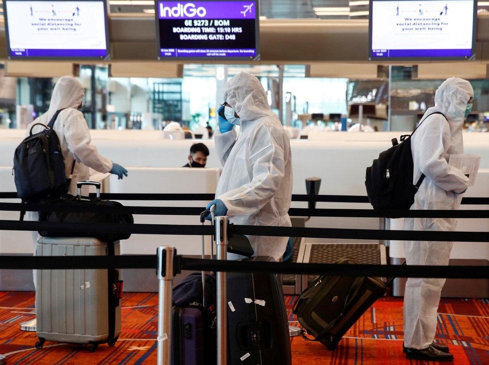 Koronavirus na letišti v Singapuru.