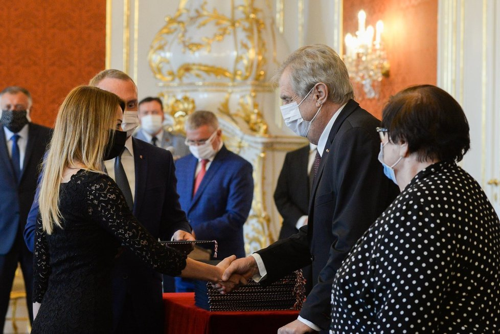 Prezident Zeman během jmenování 33 nových soudců a soudkyň na Pražském hradě (29.7.2020)