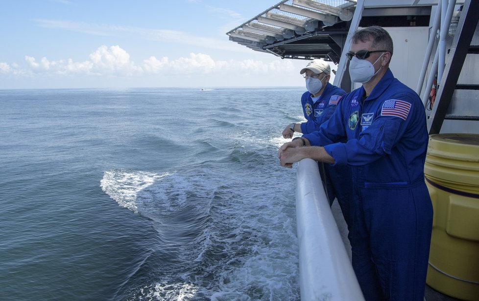 Přípravy na přistání lodi Crew Dragon společnosti SpaceX (2.8.2020)