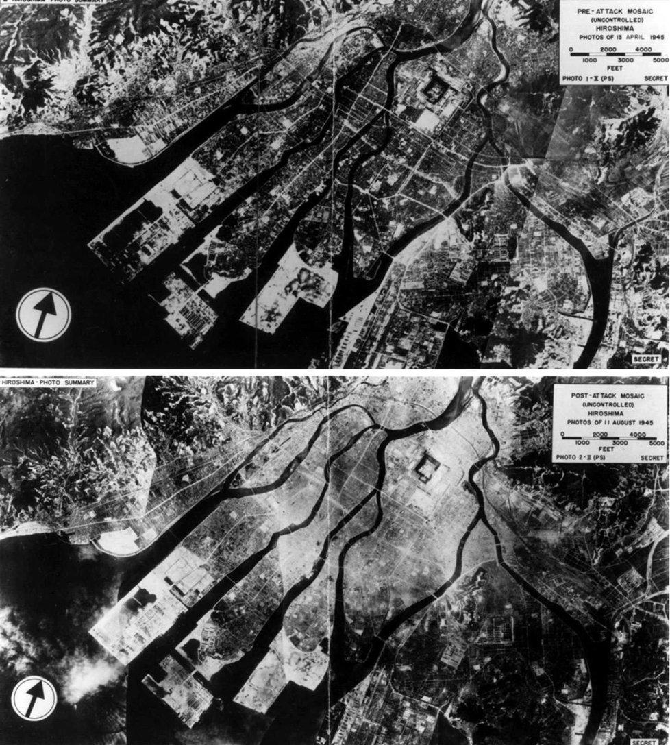 Zkáza po dopadu atomové bomby na Hirošimu v roce 1945
