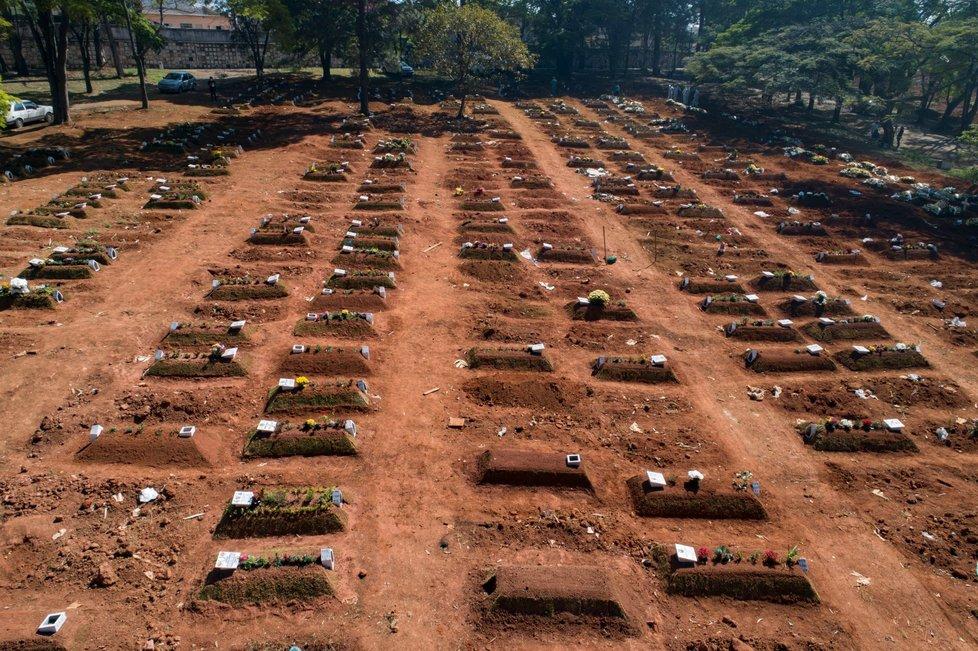 Hroby v Brazílii v době, kdy se země blížila počtu tří milionů nakažených (6. 8. 2020)