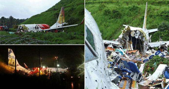 Na letišti v indickém Kalikatu havarovalo letadlo Air India, které letělo z Dubaje. Takto vypadalo místo neštěstí ráno po nehodě (8. 8. 2020)