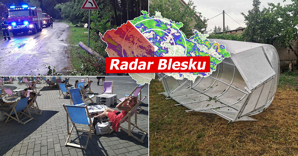 V Česku znovu udeřily bouřky, vichr odnesl i skleník (10. 8. 2020)