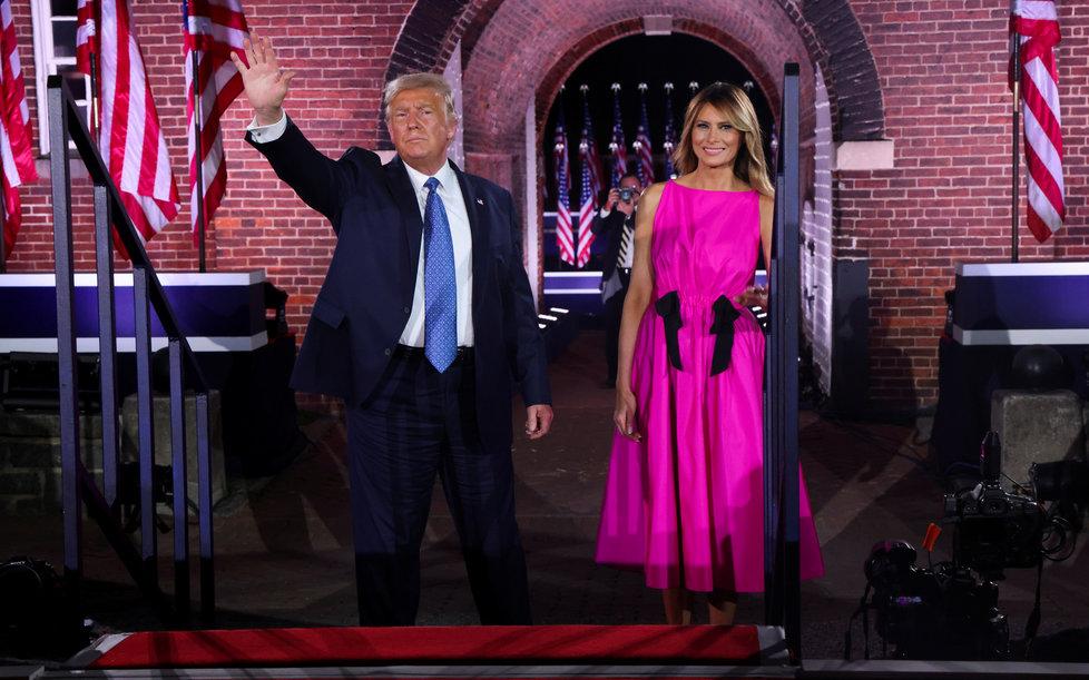 Prezident USA Donald Trump s manželkou Melanií na sjezdu republikánů v srpnu 2020