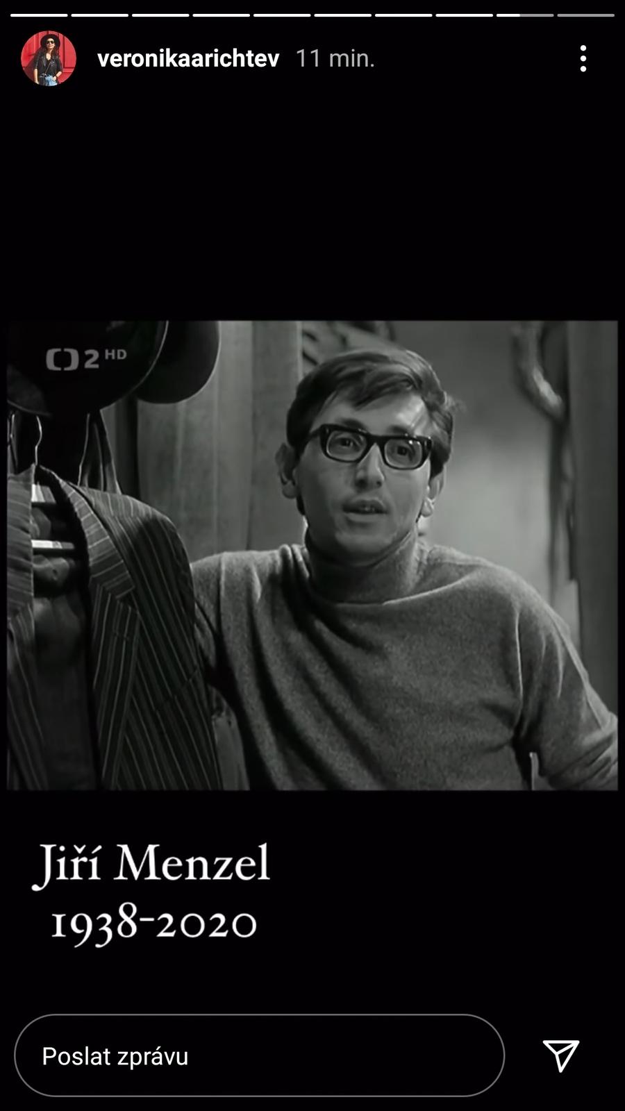 Vzpomínkovým videem vzdala hold zesnulému Jiřímu Menzelovi i Veronika Arichteva.