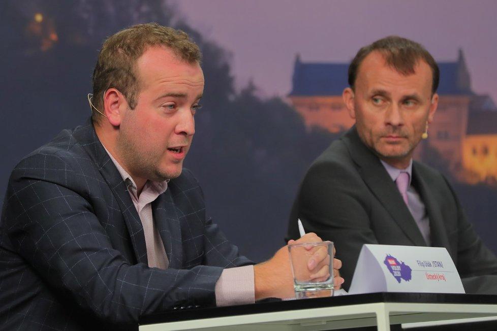 Krajská debata Blesku o zdravotnictví: Zleva Filip Ušák (STAN), Stanislav Mackovík (KSČM)