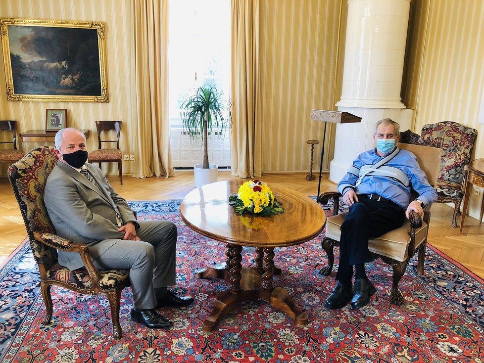 Roman Prymula a prezident Miloš Zeman v Lánech (21. 9. 2020)