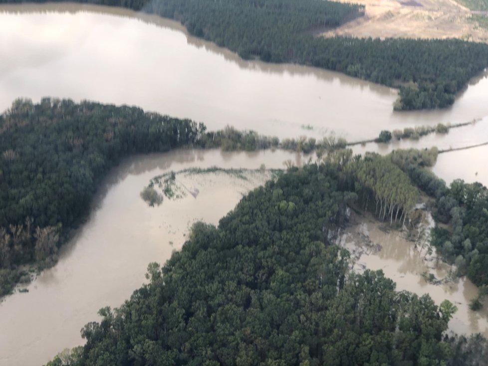 Meandrující Morava se vylila do lesů u Bzence Přívozu.