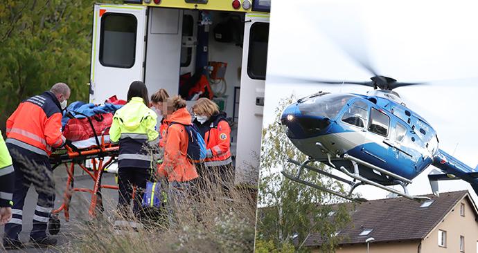 Dítě se v Brandýse nad Labem zřítilo z žebříku. Po třímetrovém pádu bylo letecky transportováno do nemocnice.