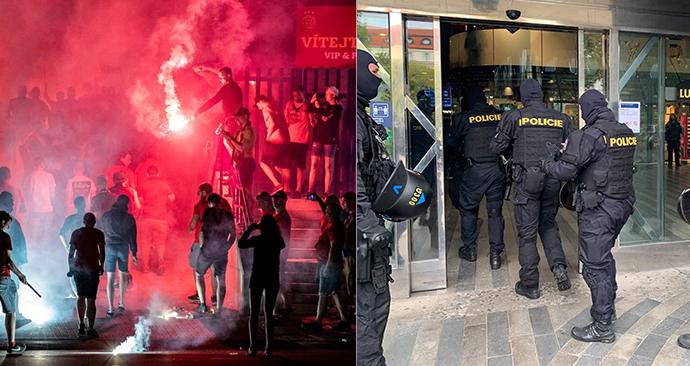 Opatření na hlavním nádraží - do Prahy přijíždí 18. října 2020 chuligáni na protest proti vládním opatřením.