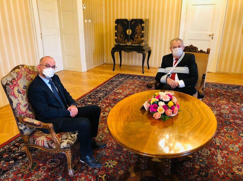 Prezident Miloš Zeman přijal v Lánech kandidáta na ministra zdravotnictví Jana Blatného.