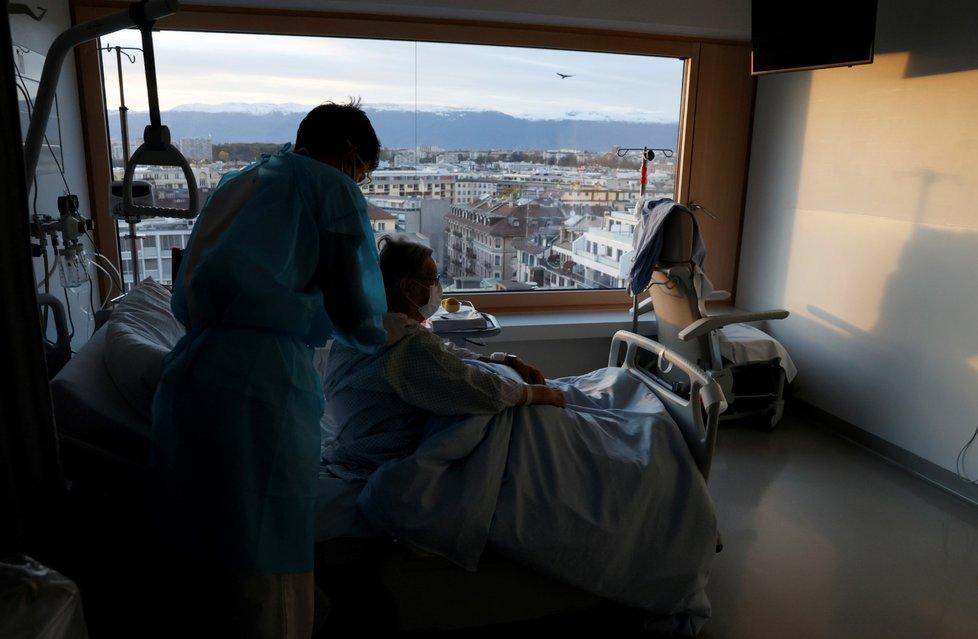 Koronavirus v ženevské nemocnici ve Švýcarsku (27. 10. 2020)