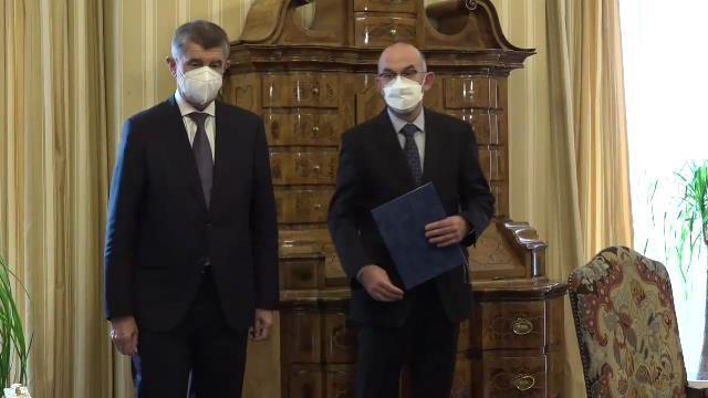 Prezident Miloš Zeman jmenoval Jana Blatného (za ANO) za přítomnosti premiéra Andreje Babiše (ANO) novým ministrem zdravotnictví. (29. 10. 2020)