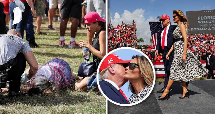 Donald s Melanií na mítinku na Floridě: Trumpovi i dav byli bez roušek, na fanoušky se musela stříkat voda