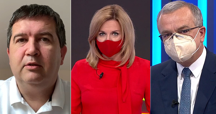 Jan Hamáček (ČSSD) a Miroslav Kalousek (TOP 09) v Partii odpovídali na dotazy moderátorky Terezie Tománkové.