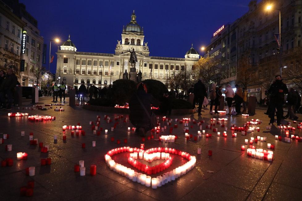 Václavské náměstí během 17. listopadu 2020