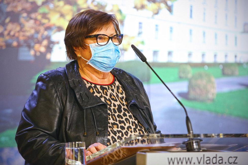 Tiskovka po jednání vlády: Marie Benešová, ministryně spravedlnosti