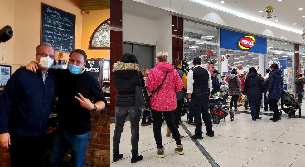 Miroslav Kalousek (TOP 09, vlevo) u kamaráda v obchodě a fronta před obchodem v nákupním centru v Praze (3. 12. 2020)