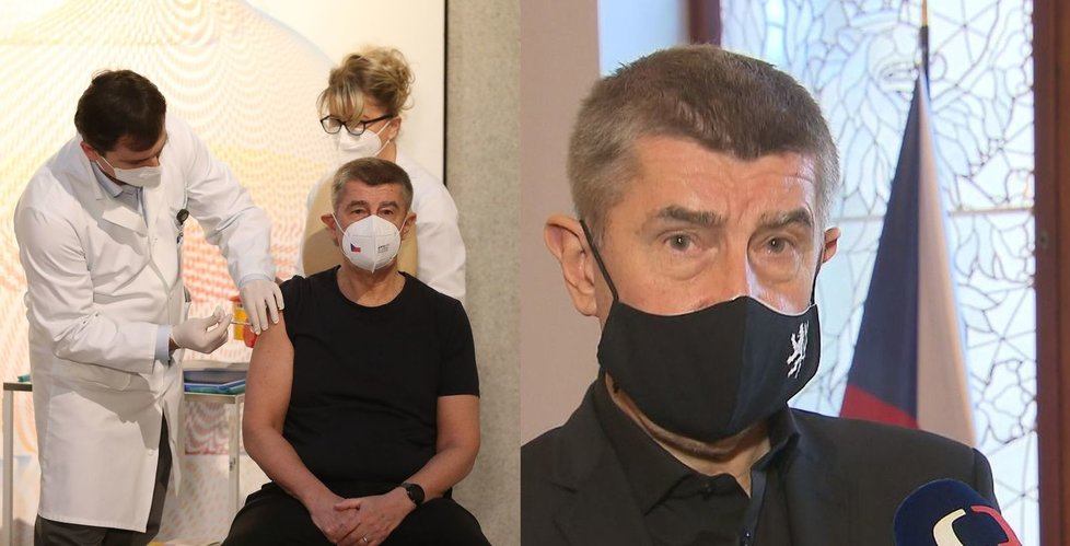 Premiér Andrej Babiš (ANO) po očkování vyměnil respirátor za roušku.