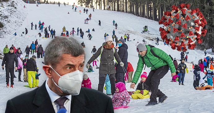 Premiér Andrej Babiš (ANO) a české hory pod náporem bobařů a sáňkařů