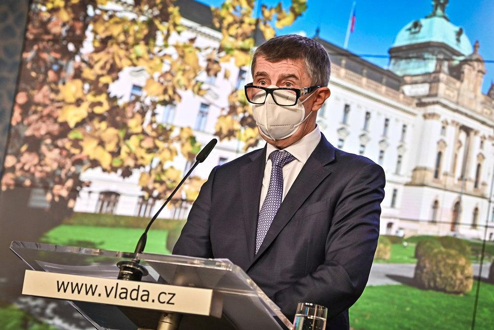 Andrej Babiš na tiskovce po jednání vlády v listopadu 2020