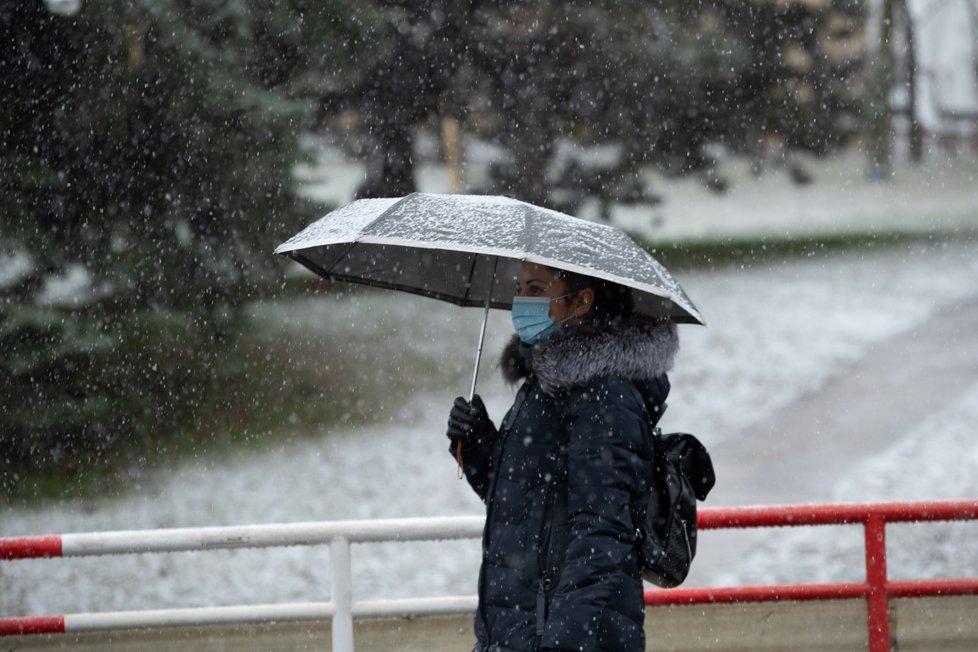 Sněžení v Praze (6. ledna 2021)