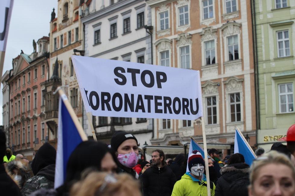 Průběh demonstrace proti vládním opatřením namířeným proti koronaviru. (10. leden 2021)