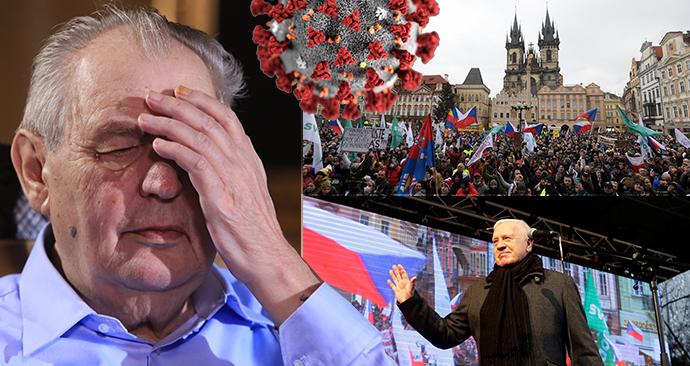 Prezident Miloš Zeman a demonstrace na Staroměstském náměstí v Praze i s exprezidentem Václavem Klausem (10. 1. 2021)